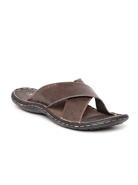 Red Tape Men Brown Leather Textured Sandals