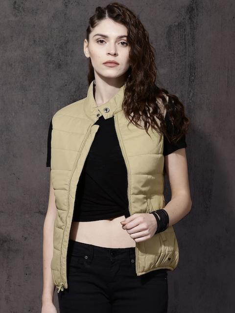 Roadster Women Beige Solid Puffer Jacket