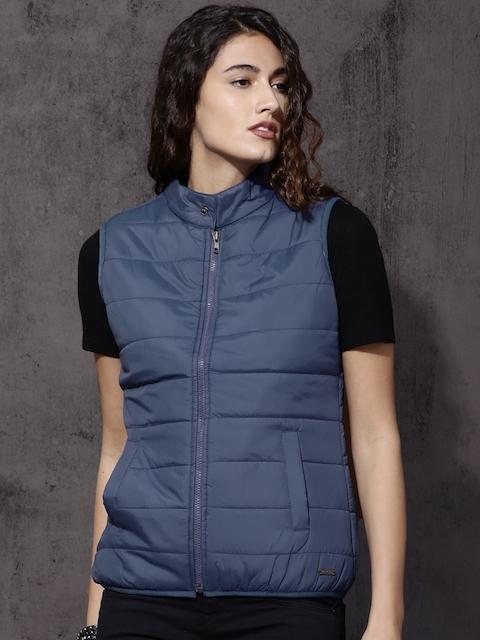 Roadster Women Blue Solid Puffer Jacket