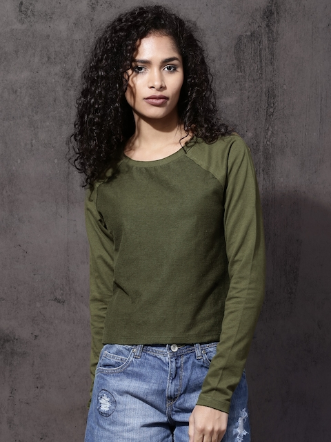 Roadster Women Olive Green Solid Sweatshirt