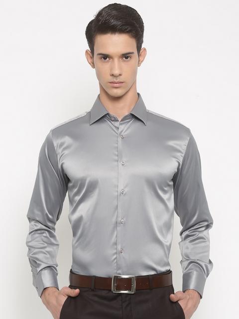 V Dot by Van Heusen Men Grey Slim Fit Solid Formal Shirt