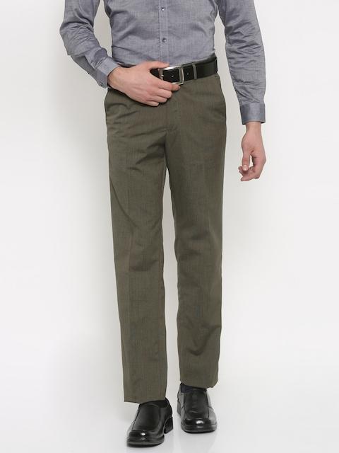 Van Heusen Men Brown Custom Regular Fit Solid Formal Trousers