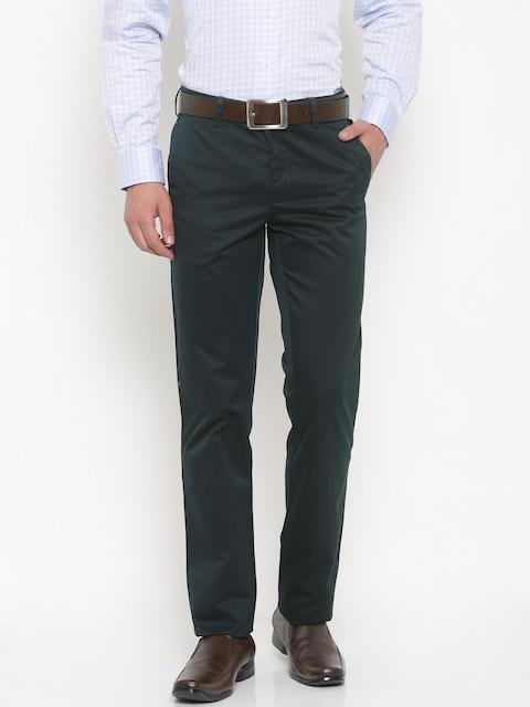 Van Heusen Men Blue Slim Fit Solid Formal Trousers