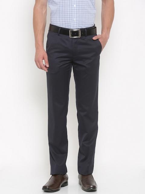 Van Heusen Men Navy Slim Fit Solid Formal Trousers