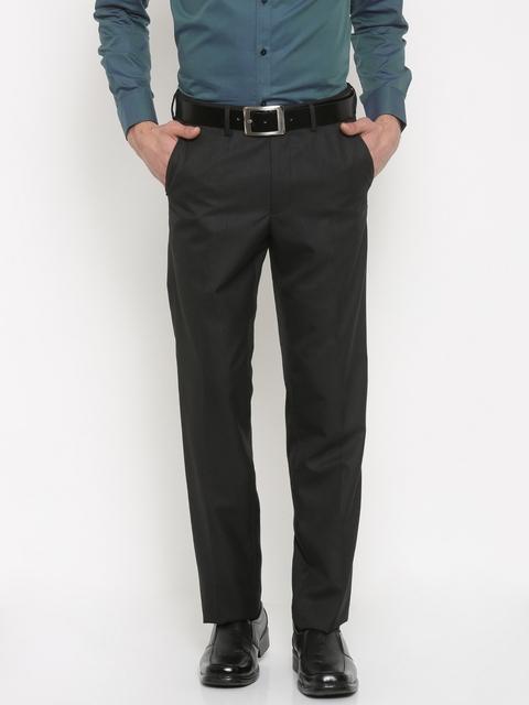 Van Heusen Men Black Custom Regular Fit Solid Formal Trousers