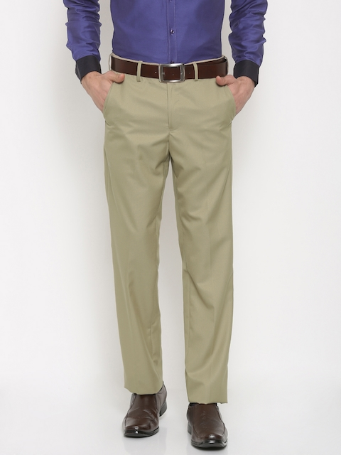 Van Heusen Men Beige Custom Regular Fit Solid Formal Trousers