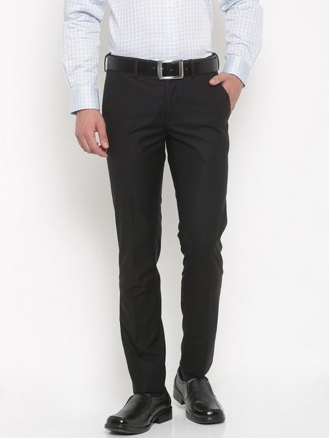 Van Heusen Men Black Ultra Slim Fit Solid Formal Trousers