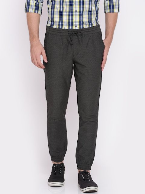 Van Heusen Sport Men Charcoal Grey Tapered Fit Self Design Joggers