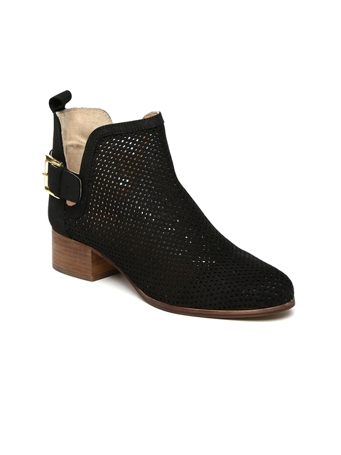 Carlton London Women Black Laser Cut Heeled Boots