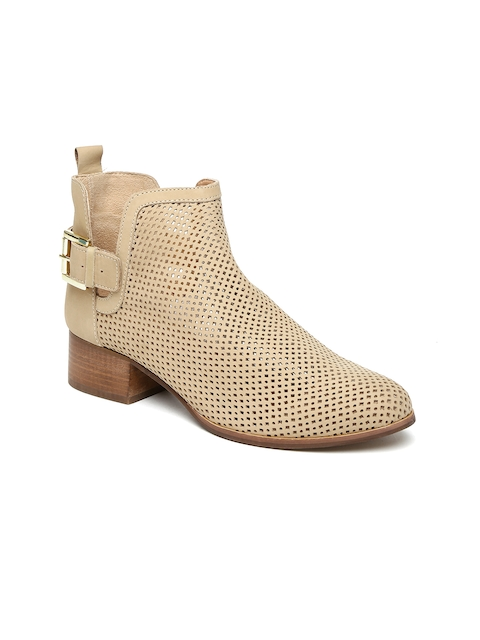 Carlton London Women Beige Cut-Out Leather Heeled Boots