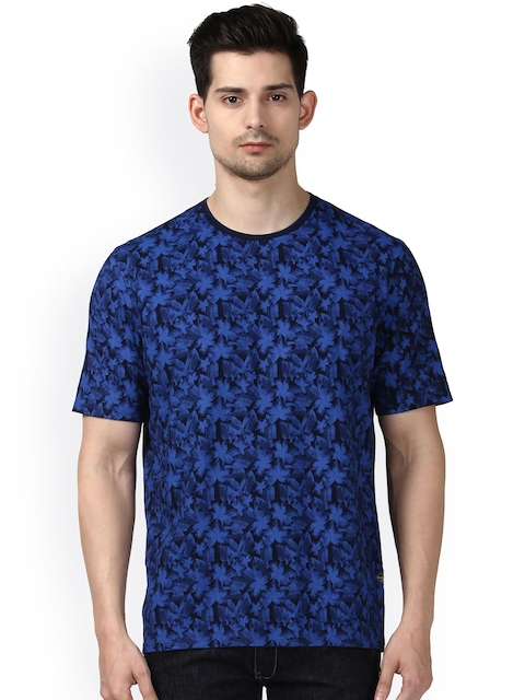 Park Avenue Men Blue Printed Round Neck T-shirt