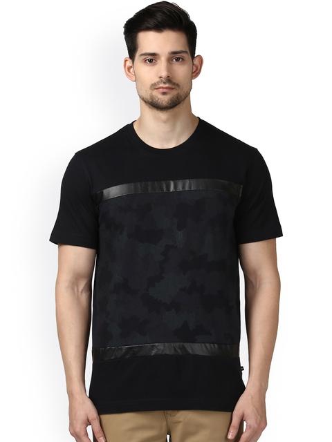 Park Avenue Men Black Printed Round Neck T-shirt
