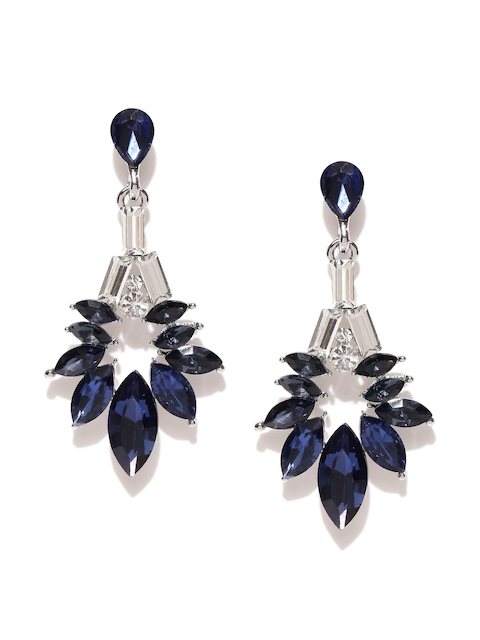 YouBella Navy Blue & Silver-Toned Stone-Studded Drop Earrings