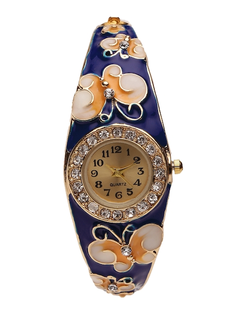 YouBella Women Gold-Toned Crystal Bracelet Cum Analogue Watch 0011