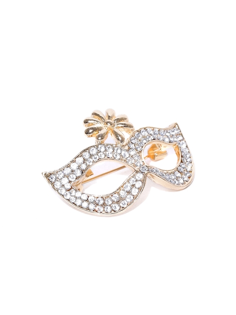 YouBella Women Gold-Plated Stone-Studded Mask-Shaped Brooch