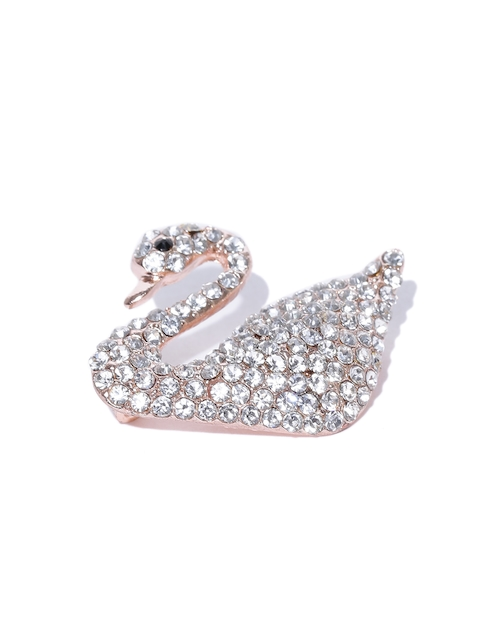 YouBella Women Gold-Plated Stone-Studded Swan-Shaped Brooch