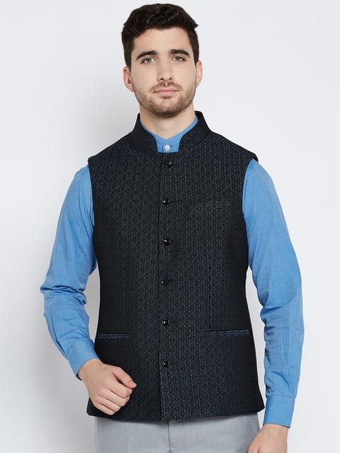 Blackberrys Black & Blue Patterned Slim Fit Nehru Jacket