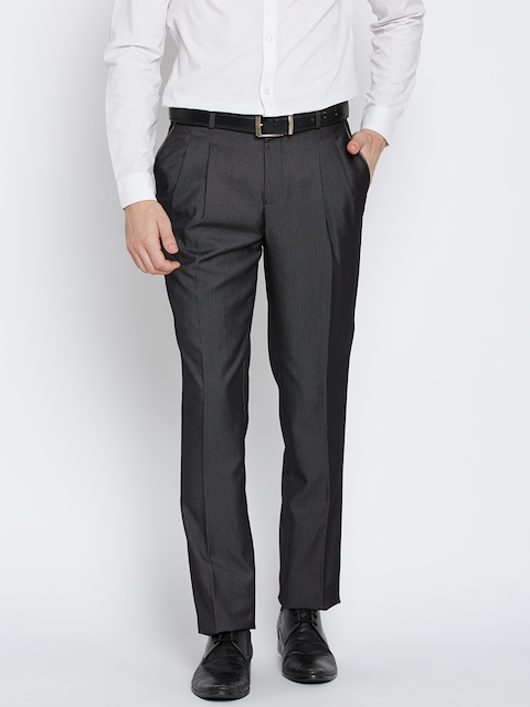 Blackberrys Men Charcoal Grey Sharp Fit Formal Trousers