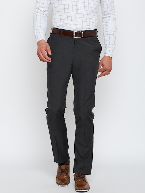 Blackberrys Men Charcoal Grey Sharp Fit Self-Design Formal Trousers