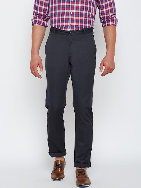 Blackberrys Men Grey Sharp Fit Solid Casual Trousers