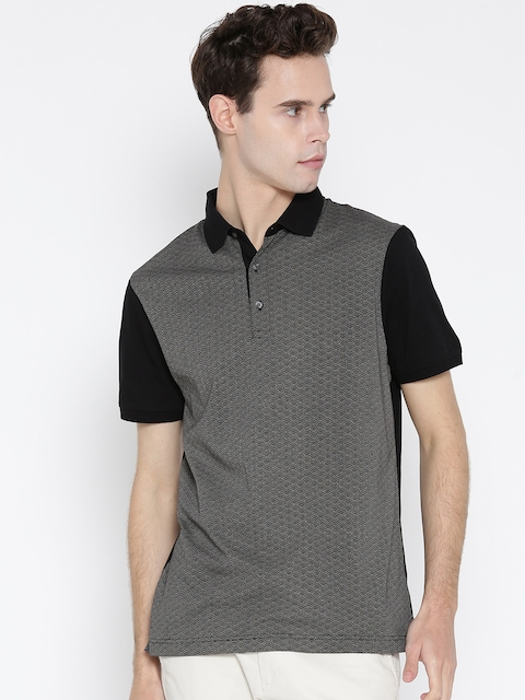 Blackberrys Men Black & Grey Printed Polo Collar T-shirt