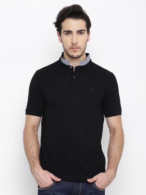 Blackberrys Men Black Solid Mandarin Collar T-shirt