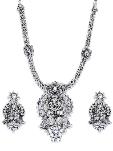 Zaveri Pearls Oxidised Silver-Toned Lord Ganesha Stone-Studded Jewellery Set