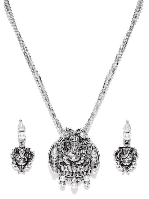 Zaveri Pearls Oxidised Silver-Toned Lord Ganesha-Textured Jewellery Set