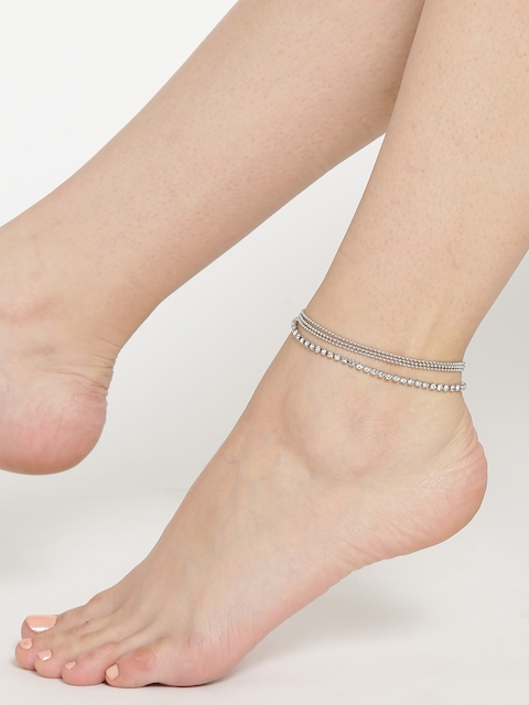 OOMPH Silver-Toned Stone-Studded Multistranded Anklet