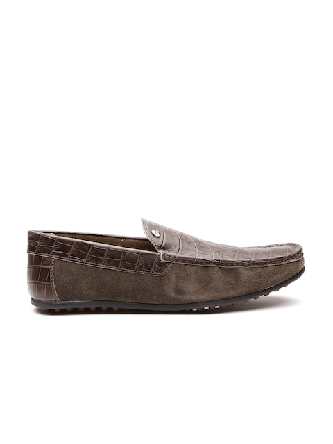Carlton London Men Brown Leather Croc-Textured Loafers