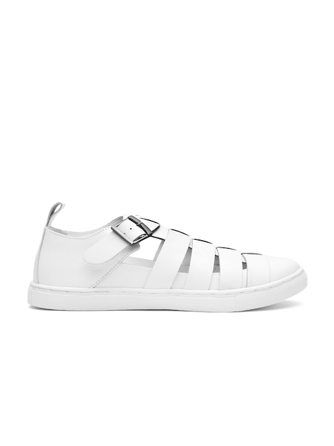 Carlton London Men White Leather Sandals