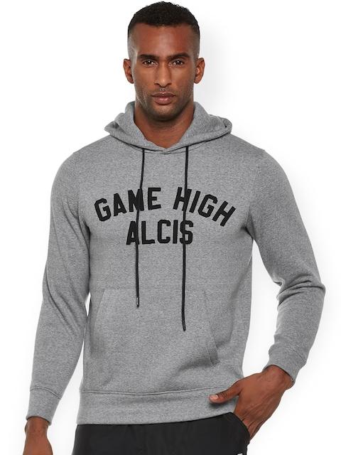 Alcis Men Grey Printed Hooded Sweatshirt