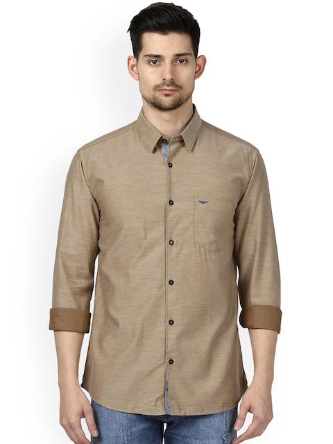 Park Avenue Men Beige Smart Slim Fit Solid Casual Shirt