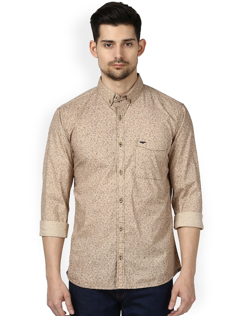 Park Avenue Men Beige Regular Fit Self Design Casual Shirt