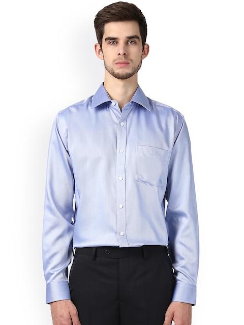 Park Avenue Men Blue Regular Fit Self Design Formal Shirt