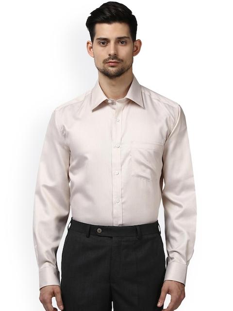 Park Avenue Men Beige Regular Fit Self Design Formal Shirt