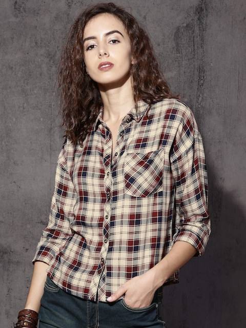 Roadster Women Beige & Maroon Checked Casual Shirt