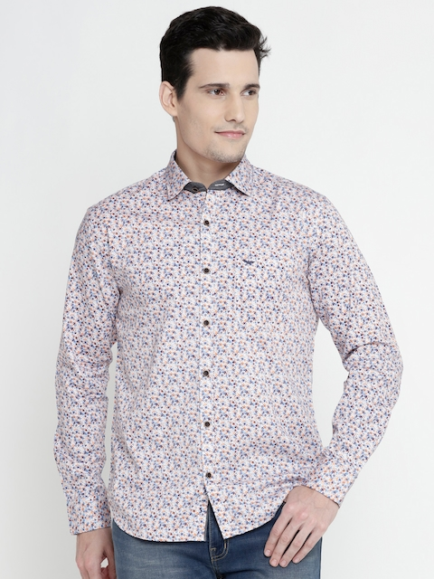 Park Avenue Men Off-White & Orange Regular Fit Floral Print Casual Shirt