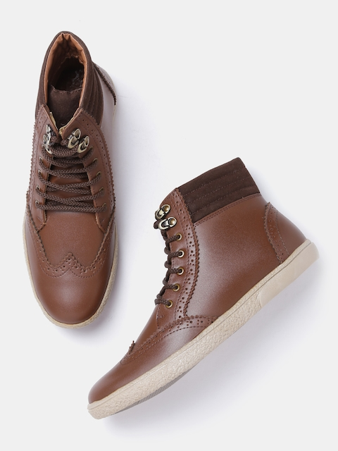Roadster Men Tan Brown Solid Mid-Top Brogues