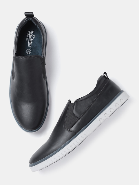 Roadster Men Black Slip-On Sneakers  available at myntra for Rs.569