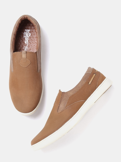 Roadster Men Brown Perforated Slip-On Sneakers  available at myntra for Rs.569