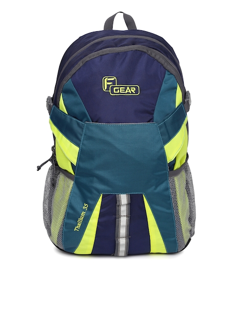 F Gear Unisex Blue & Fluorescent Green Solid Britain Backpack