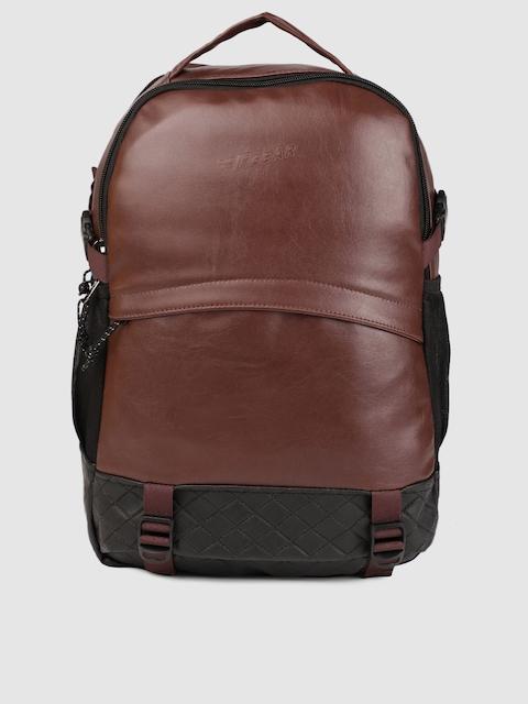 F Gear Unisex Brown & Black Sedna Solid Laptop Backpack
