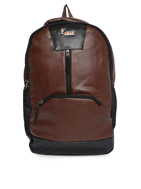 F Gear Unisex Brown & Black Solid Yakuza Leather Backpack