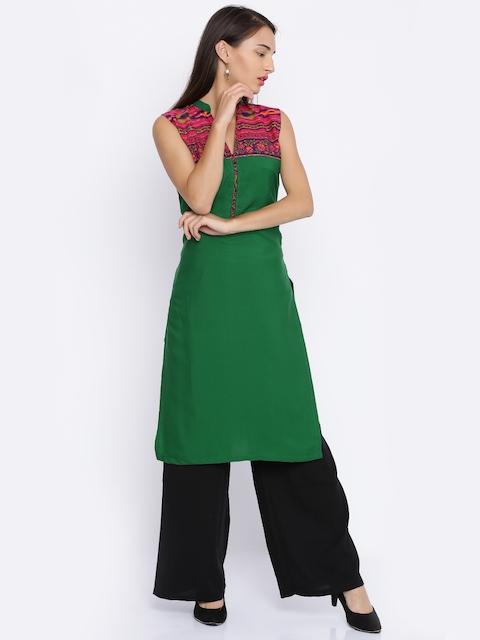 Soch Women Green Yoke Design Straight Kurta