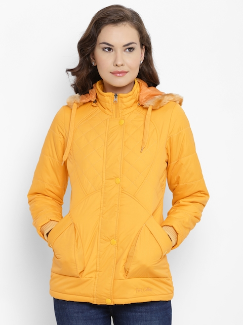 Fort Collins Women Yellow Solid Parka Jacket with Detachable Hood