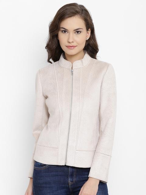 Fort Collins Women Beige Self-Design Tailored Jacket