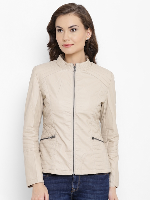 Fort Collins Women Beige Solid Faux Leather Jacket