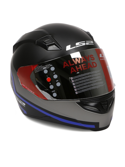 LS2 Men Black & Blue Printed Full Face Pistons Helmet FF 391