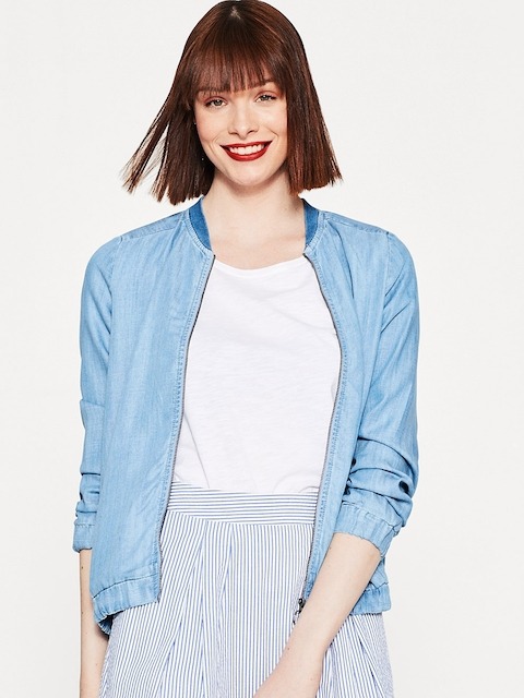 ESPRIT Women Blue Solid Chambray Jacket